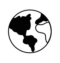 Contour earth planet to natural ecology care vector