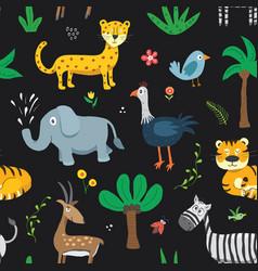 cute animals seamless pattern cartoon animals and vector image