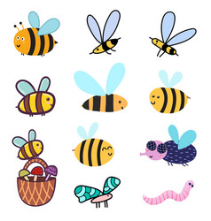 Cute bees set clipart bundle with funny colorful vector