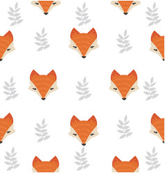 cute fox head with leaves seamless pattern vector image
