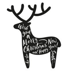 deer silhouette with lettering merry christmas vector image