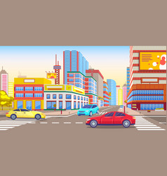 Downtown city streets full traffic and cars vector
