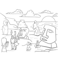 Easter island excursions coloring vector