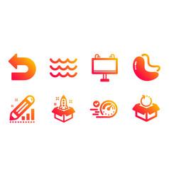Edit statistics undo and startup icons set road vector