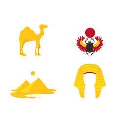 Egypt symbols - crown camel pyramids scarab vector