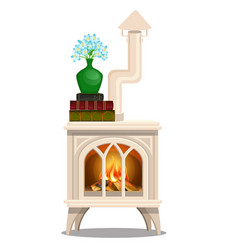 elegant white stove with books and vase with blue vector image