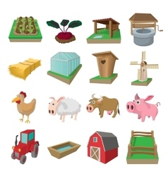 Farm cartoon icons set vector