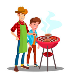 father and son cooking barbecue on the grill vector image