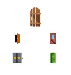 Flat icon door set lobdoor wooden fence vector