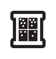 Flat icon in black and white snow outside window vector