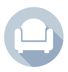 flat style with long shadows sofa icon vector image