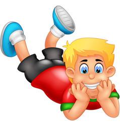 Funny boy lay down cartoon vector