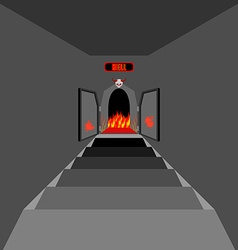 Gate to hell open fiery gate of purgatory door to vector