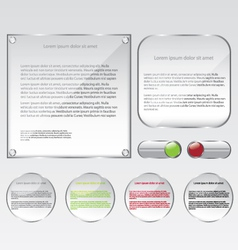 Glass web frame and buttons vector image