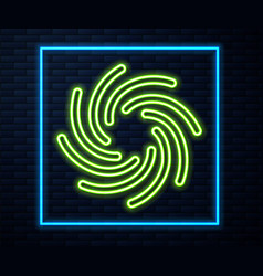 Glowing neon line tornado icon isolated on brick vector
