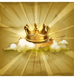 Gold crown old style background vector image