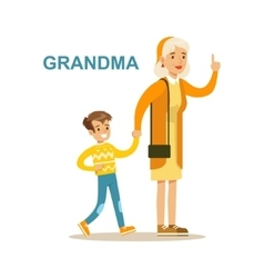 Grandma Walking With Grandson Happy Family Having vector