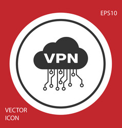 Grey cloud vpn interface icon isolated on red vector