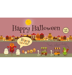 Halloween in Town - Greeting Card vector image