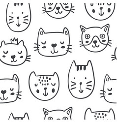 hand drawn funny cats in sketch style vector image