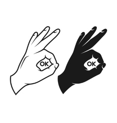 Hand making okay sign Black and white variants vector