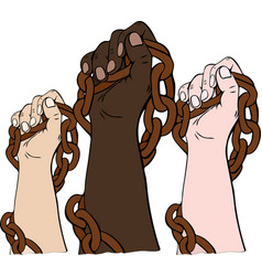 Hands of different races hold the iron chain vector