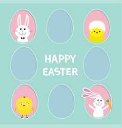 Happy easter text pink painted egg frame set vector