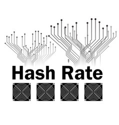 Hash rate of blockchain network with asic icon vector