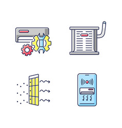 Heating and conditioning rgb color icons set vector