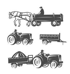Horse with cart and tractors vector