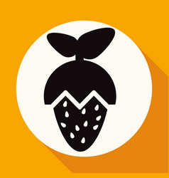 icon strawberry on white circle with a long shadow vector image