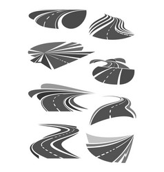 icons of road lanes and highway symbols vector image