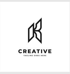 initial letter k monogram logo black color vector image