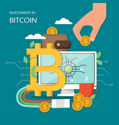 Investment in bitcoin concept flat vector