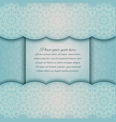 Invitation card with mandala border turquoise lace vector