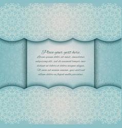 invitation card with mandala border turquoise lace vector image