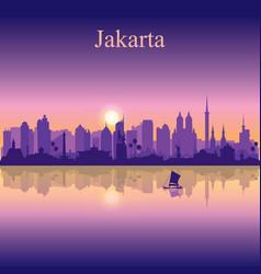 Jakarta city silhouette on sunset background vector