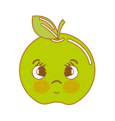 Kawaii cute sad apple fruit vector