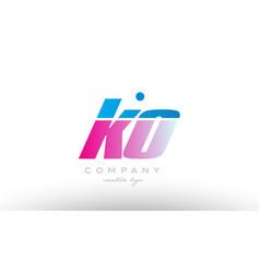 Ko k o alphabet letter combination pink blue bold vector