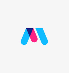 Letter m w logotype colorful overlay icon vector