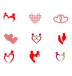 Love adoption baby care logo and symbols vector