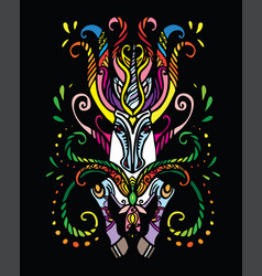 Magic doodle unicorn black vector