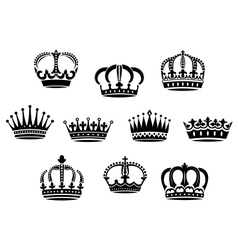 Medieval heraldic crowns set vector