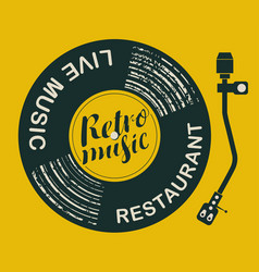 Menu for retro music restaurant with vinyl record vector