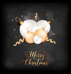merry christmas elegant card with xmas balls vector image