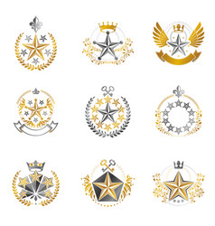 Military stars emblems set heraldic design vector