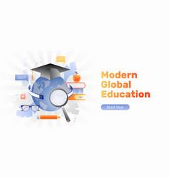 Modern global education banner vector