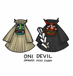 Oni devil japanese lucky charm cartoon vector