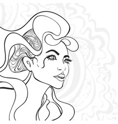 Outline girl portrait vector