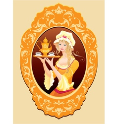 Oval Portrait of Beautiful blonde girl vector image